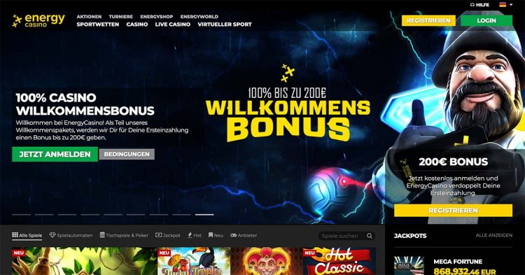 Energy Casino Homepage